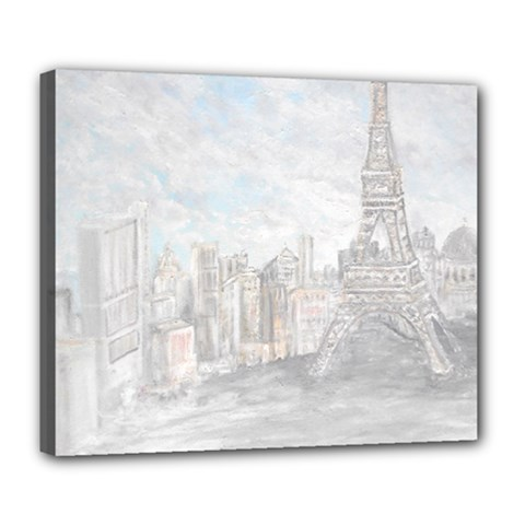 Eiffel Tower Paris Deluxe Canvas 24  x 20  (Framed)