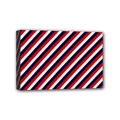 Diagonal Patriot Stripes Mini Canvas 6  x 4  (Framed)