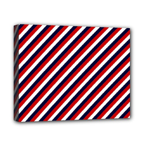 Diagonal Patriot Stripes Canvas 10  x 8  (Framed)