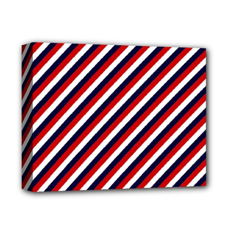 Diagonal Patriot Stripes Deluxe Canvas 14  x 11  (Framed)