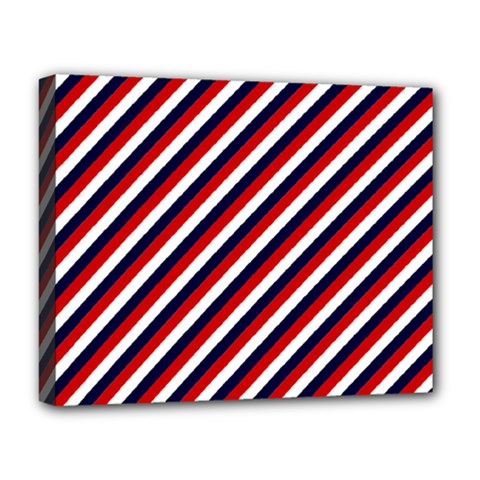 Diagonal Patriot Stripes Deluxe Canvas 20  X 16  (framed)