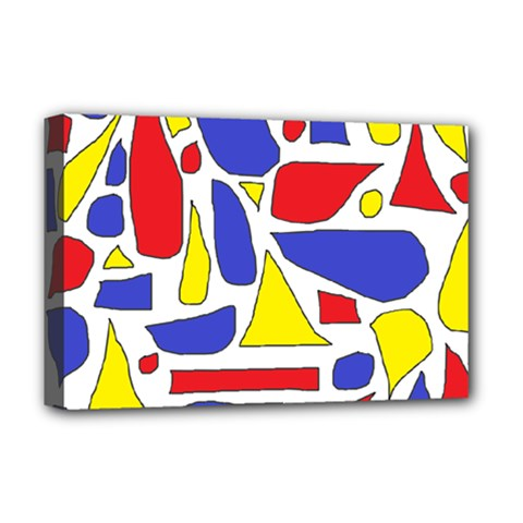 Silly Primaries Deluxe Canvas 18  x 12  (Framed)