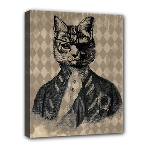 Harlequin Cat Deluxe Canvas 20  X 16  (framed)