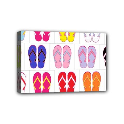 Flip Flop Collage Mini Canvas 6  x 4  (Framed)