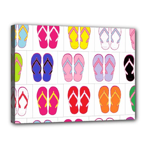 Flip Flop Collage Canvas 16  X 12  (framed)