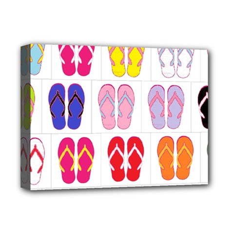 Flip Flop Collage Deluxe Canvas 16  x 12  (Framed)