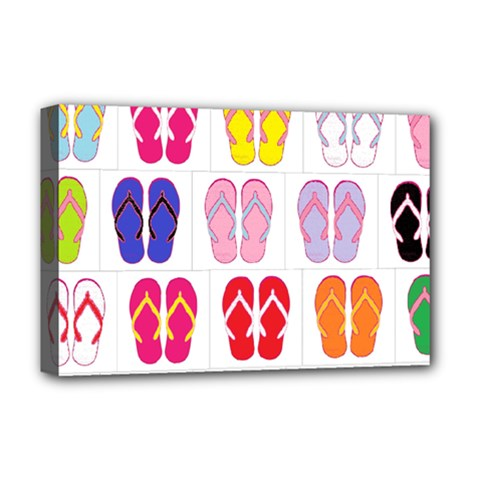 Flip Flop Collage Deluxe Canvas 18  X 12  (framed)