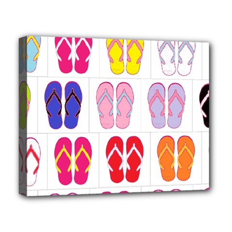 Flip Flop Collage Deluxe Canvas 20  X 16  (framed)