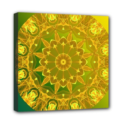 Yellow Green Abstract Wheel Of Fire Mini Canvas 8  X 8  (framed)