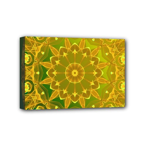 Yellow Green Abstract Wheel Of Fire Mini Canvas 6  x 4  (Framed)