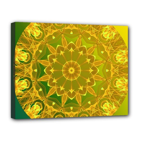 Yellow Green Abstract Wheel Of Fire Canvas 14  x 11  (Framed)