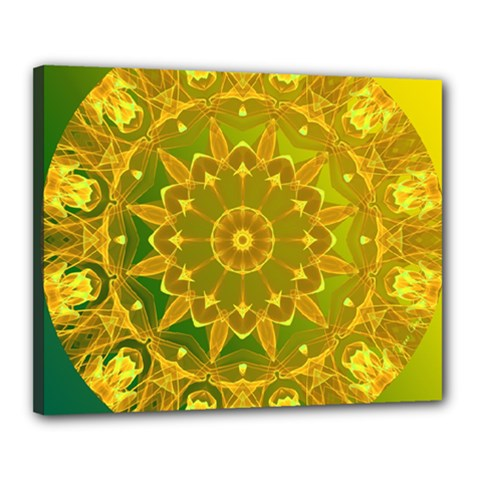 Yellow Green Abstract Wheel Of Fire Canvas 20  X 16  (framed)