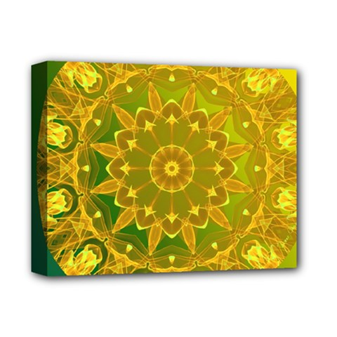 Yellow Green Abstract Wheel Of Fire Deluxe Canvas 14  x 11  (Framed)