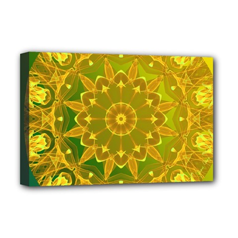 Yellow Green Abstract Wheel Of Fire Deluxe Canvas 18  X 12  (framed)