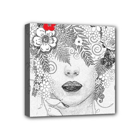Flower Child Mini Canvas 4  x 4  (Framed)