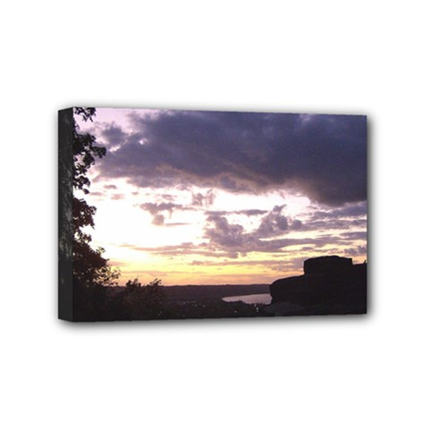 Sunset Over The Valley Mini Canvas 6  x 4  (Framed)