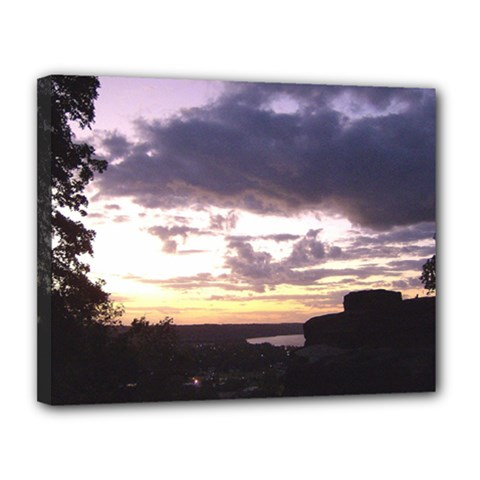 Sunset Over The Valley Canvas 14  x 11  (Framed)