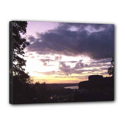Sunset Over The Valley Canvas 16  x 12  (Framed)