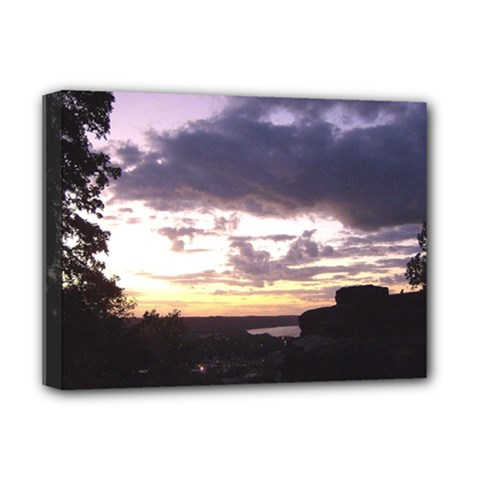 Sunset Over The Valley Deluxe Canvas 16  x 12  (Framed)