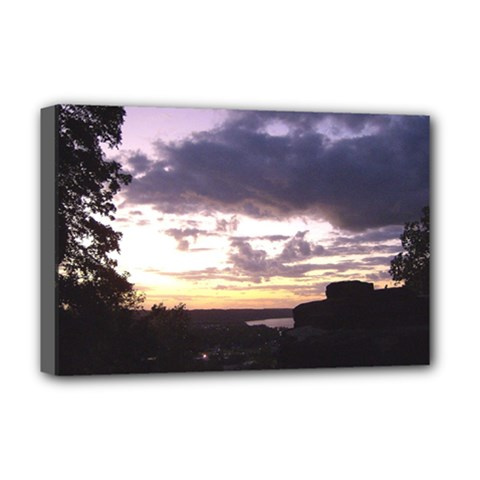 Sunset Over The Valley Deluxe Canvas 18  X 12  (framed)