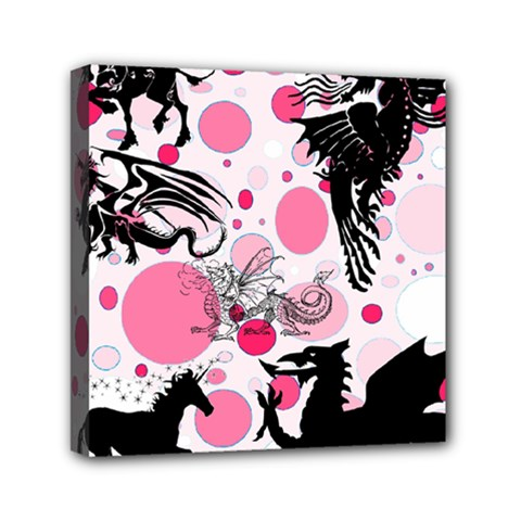 Fantasy In Pink Mini Canvas 6  x 6  (Framed)