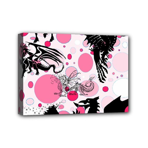 Fantasy In Pink Mini Canvas 7  x 5  (Framed)