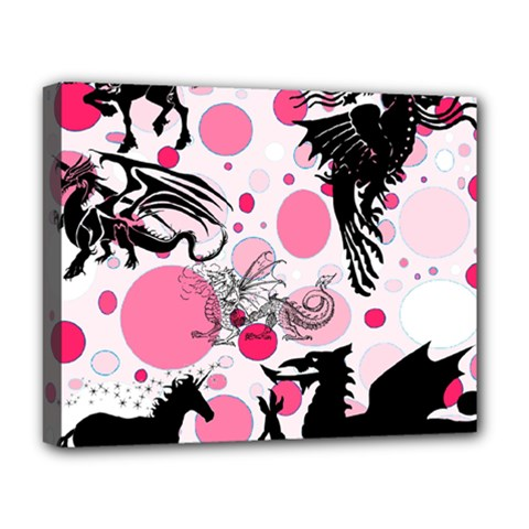Fantasy In Pink Deluxe Canvas 20  x 16  (Framed)
