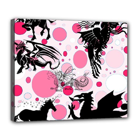 Fantasy In Pink Deluxe Canvas 24  x 20  (Framed)
