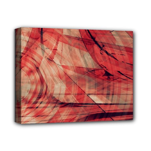 Grey And Red Deluxe Canvas 14  X 11  (framed)