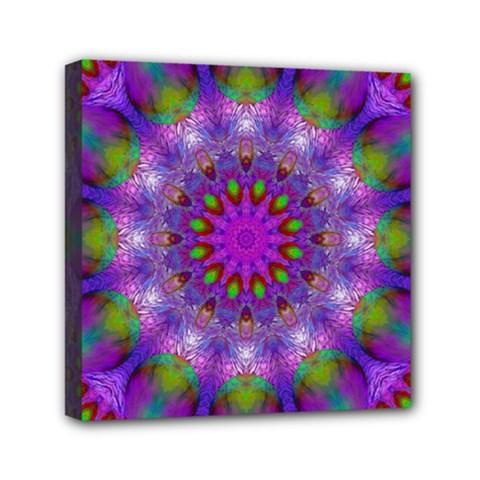 Rainbow At Dusk, Abstract Star Of Light Mini Canvas 6  x 6  (Framed)