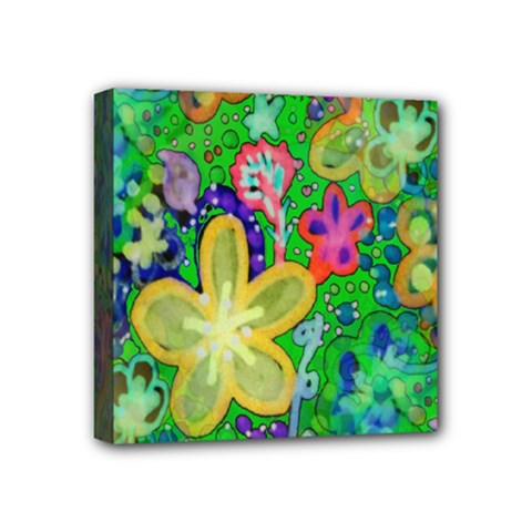 Beautiful Flower Power Batik Mini Canvas 4  X 4  (framed)