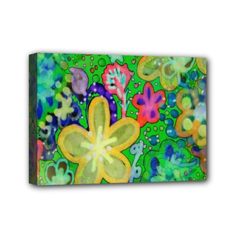 Beautiful Flower Power Batik Mini Canvas 7  x 5  (Framed)