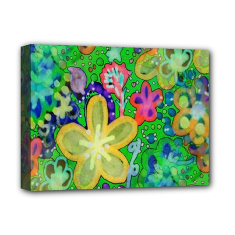 Beautiful Flower Power Batik Deluxe Canvas 16  X 12  (framed)