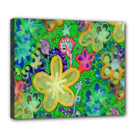 Beautiful Flower Power Batik Deluxe Canvas 24  x 20  (Framed)