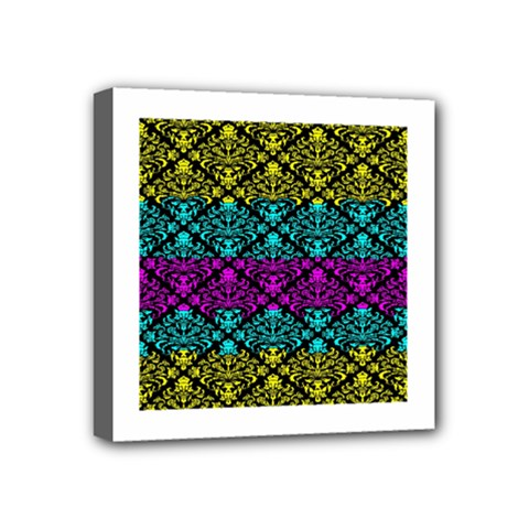 Cmyk Damask Flourish Pattern Mini Canvas 4  x 4  (Framed)