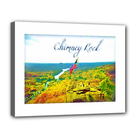 Chimney Rock Overlook Air Brushed Canvas 14  x 11  (Framed)