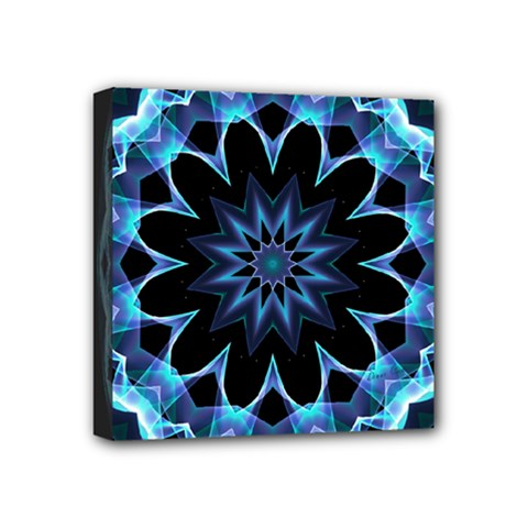 Crystal Star, Abstract Glowing Blue Mandala Mini Canvas 4  X 4  (framed)
