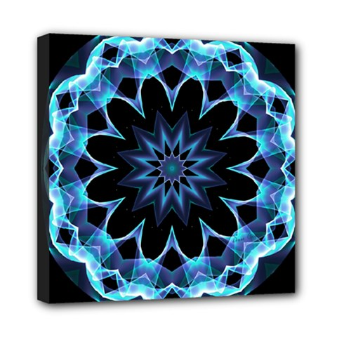 Crystal Star, Abstract Glowing Blue Mandala Mini Canvas 8  x 8  (Framed)