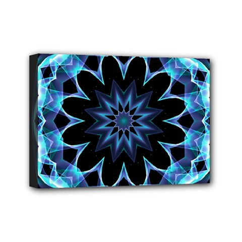 Crystal Star, Abstract Glowing Blue Mandala Mini Canvas 7  X 5  (framed)