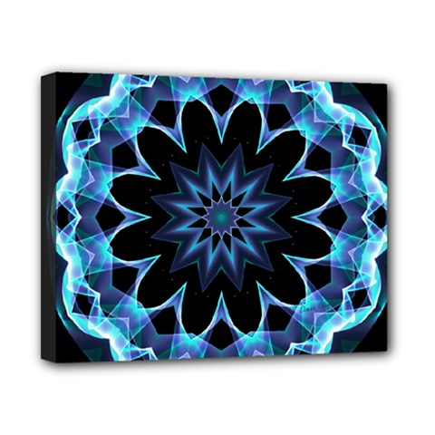Crystal Star, Abstract Glowing Blue Mandala Canvas 10  x 8  (Framed)