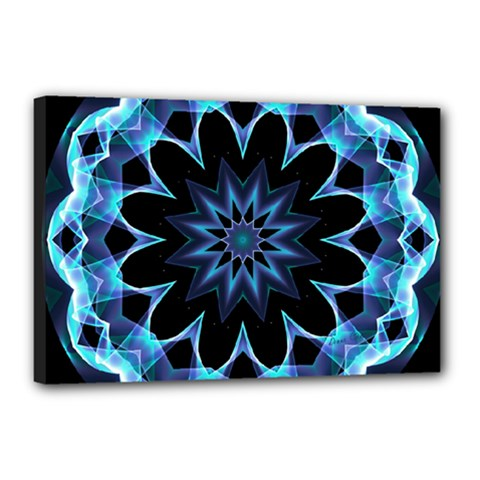 Crystal Star, Abstract Glowing Blue Mandala Canvas 18  x 12  (Framed)