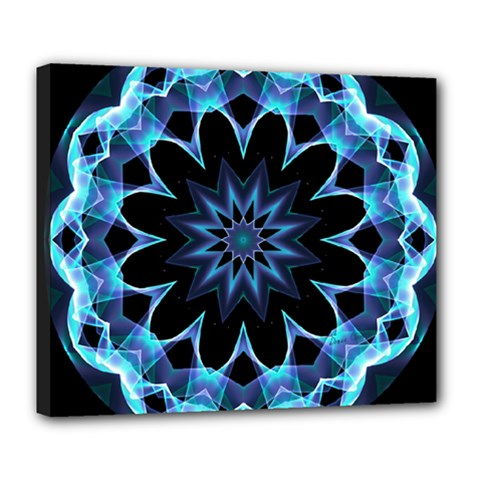 Crystal Star, Abstract Glowing Blue Mandala Deluxe Canvas 24  X 20  (framed)
