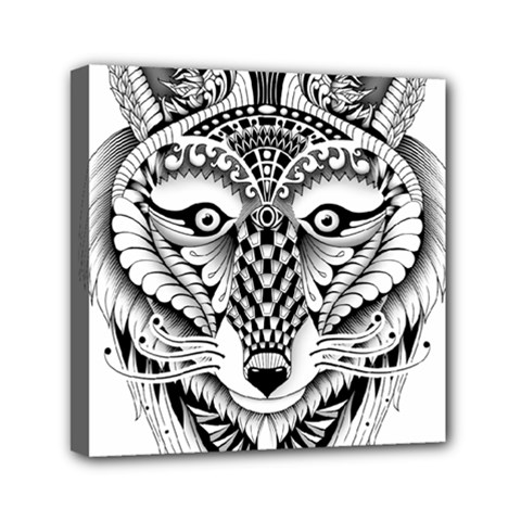 Ornate Foxy Wolf Mini Canvas 6  x 6  (Framed)