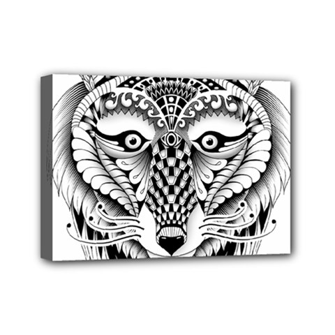 Ornate Foxy Wolf Mini Canvas 7  X 5  (framed)