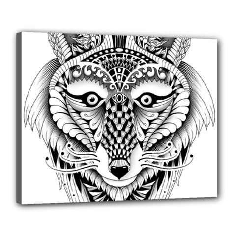 Ornate Foxy Wolf Canvas 20  x 16  (Framed)