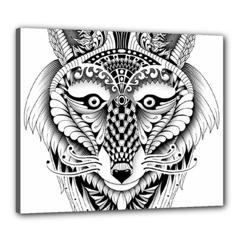 Ornate Foxy Wolf Canvas 24  x 20  (Framed)