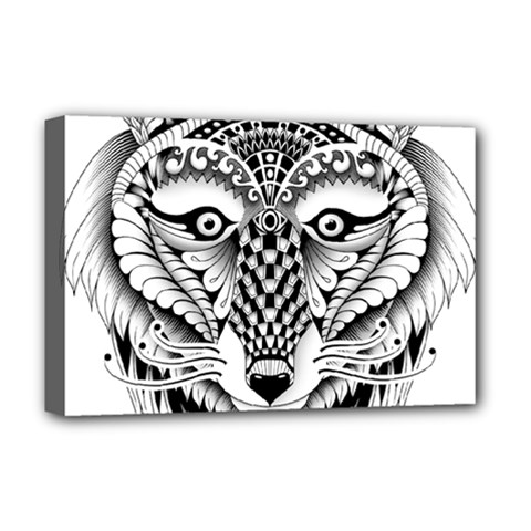 Ornate Foxy Wolf Deluxe Canvas 18  x 12  (Framed)