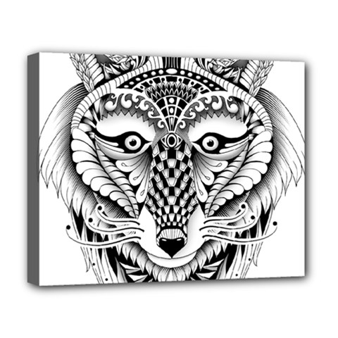 Ornate Foxy Wolf Deluxe Canvas 20  X 16  (framed)