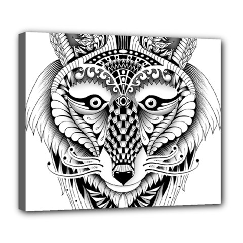 Ornate Foxy Wolf Deluxe Canvas 24  x 20  (Framed)