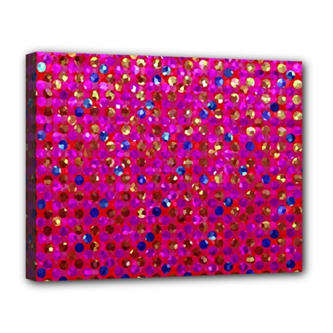 Polka Dot Sparkley Jewels 1 Canvas 14  x 11  (Framed)